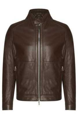Leather jacket with short band collar: 'Nortilo', Dark Brown