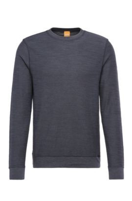 Relaxed-fit sweatshirt in cotton blend: 'Woice', Dark Blue