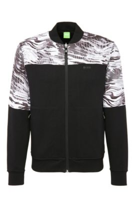 Jersey jacket in cotton with a camouflage pattern: 'Stanlow', Black