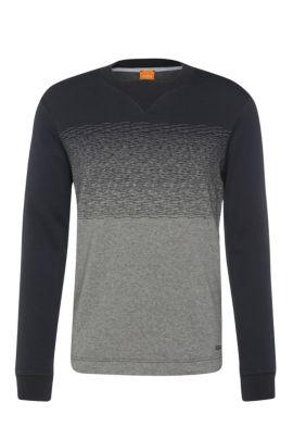 Sweatshirt van katoen met V-vormig inzetstuk: 'Wice', Donkerblauw