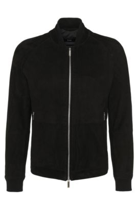 Suede jacket with perforated front: 'Gorin', Black
