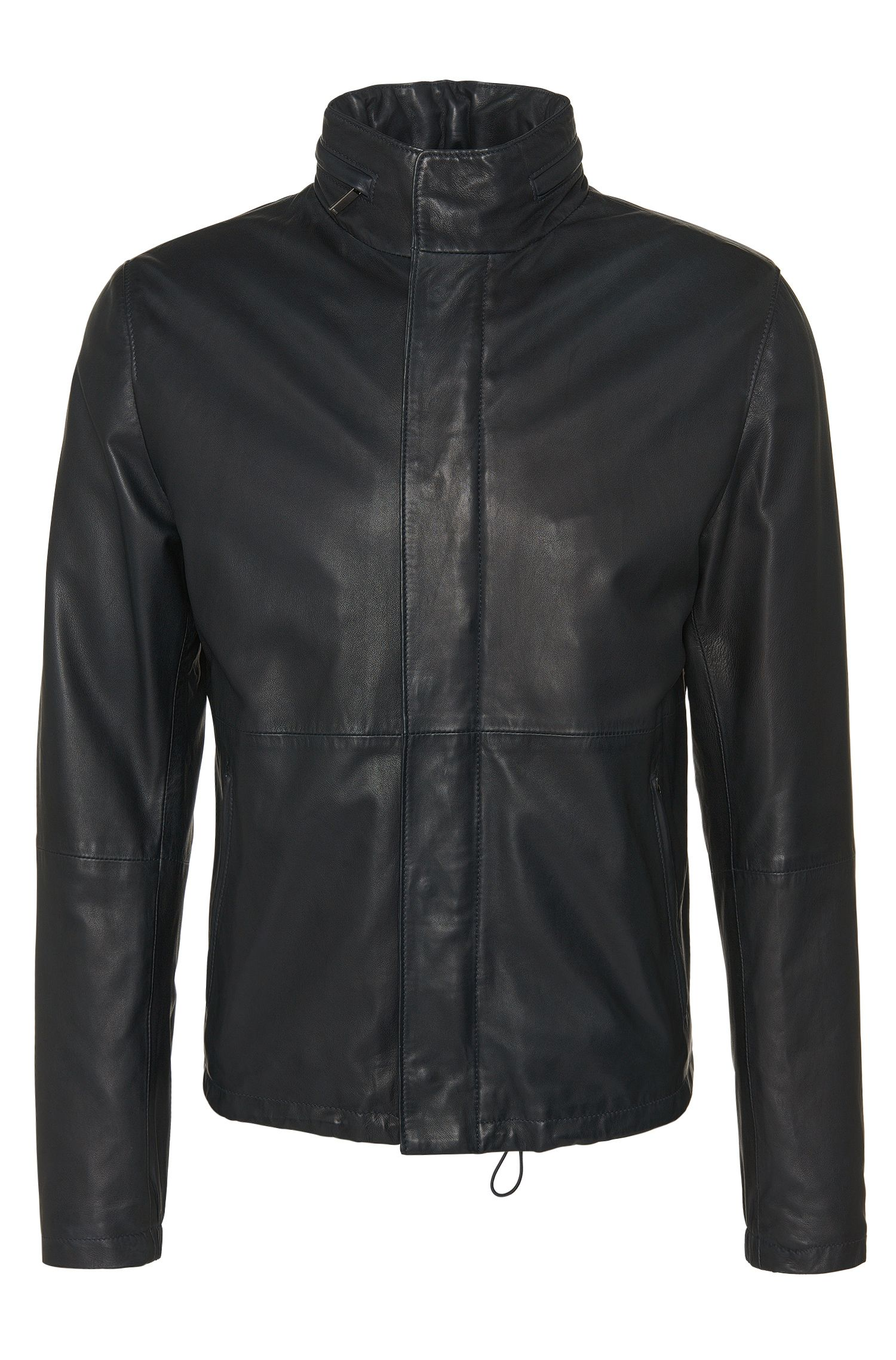 Leather jacket with drawstring in hem: 'Mirkan'