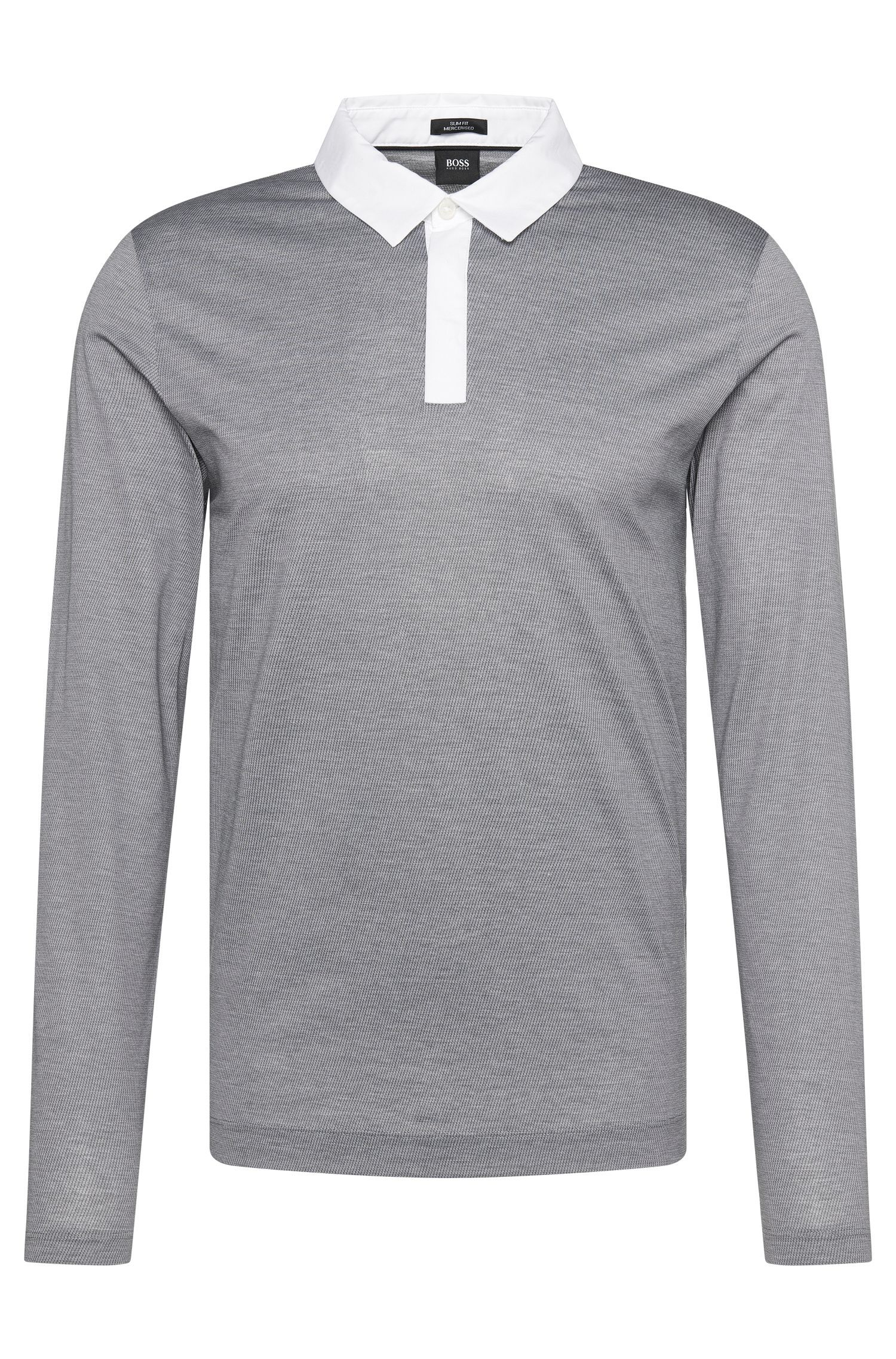 Patterned slim-fit long-sleeved polo shirt in cotton: 'Putney 01'