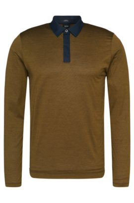 Gemustertes Slim-Fit Longsleeve-Poloshirt aus Baumwolle: 'Putney 01', Grün