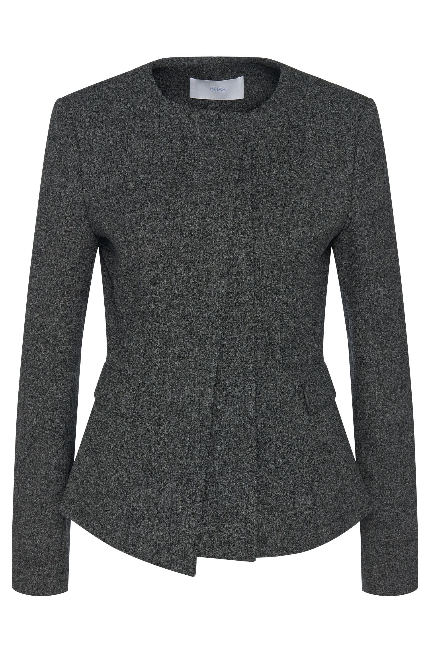 Mottled blazer in stretch new wool with concealed button placket: 'Jadela'