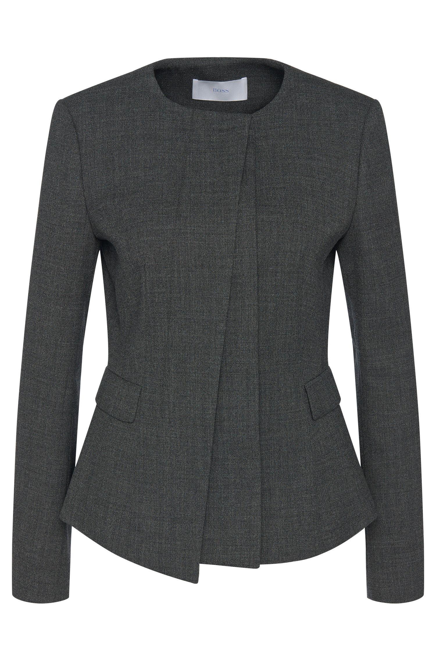Blazer chiné en laine vierge extensible avec patte de boutonnage invisible: «Jadela»