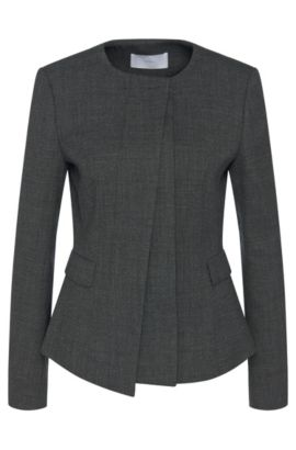Mottled blazer in stretch new wool with concealed button placket: 'Jadela', Anthracite