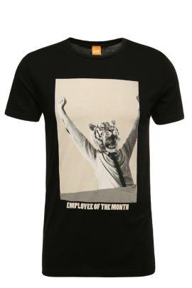 Regular-Fit T-Shirt aus Baumwolle mit Print: ´Talan 2`, Schwarz