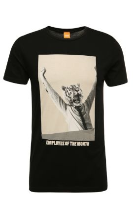 Regular-fit cotton t-shirt with print: 'Talan 2', Black