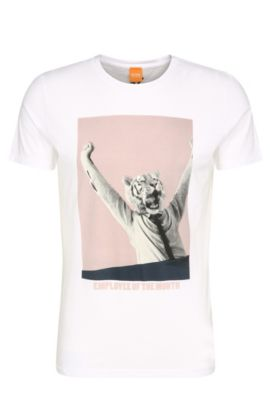 Regular-fit cotton t-shirt with print: 'Talan 2', White