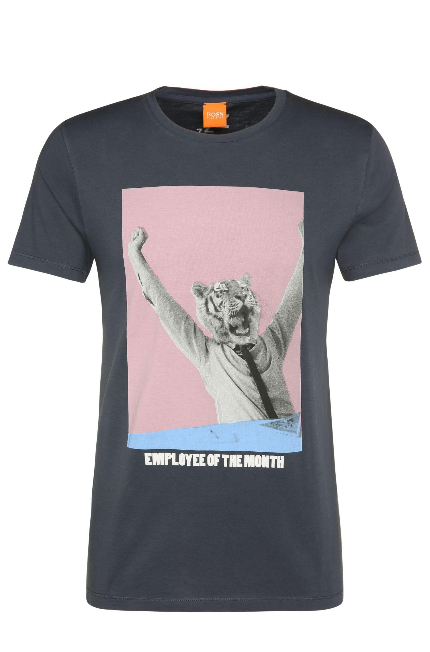 Regular-fit cotton t-shirt with print: 'Talan 2'