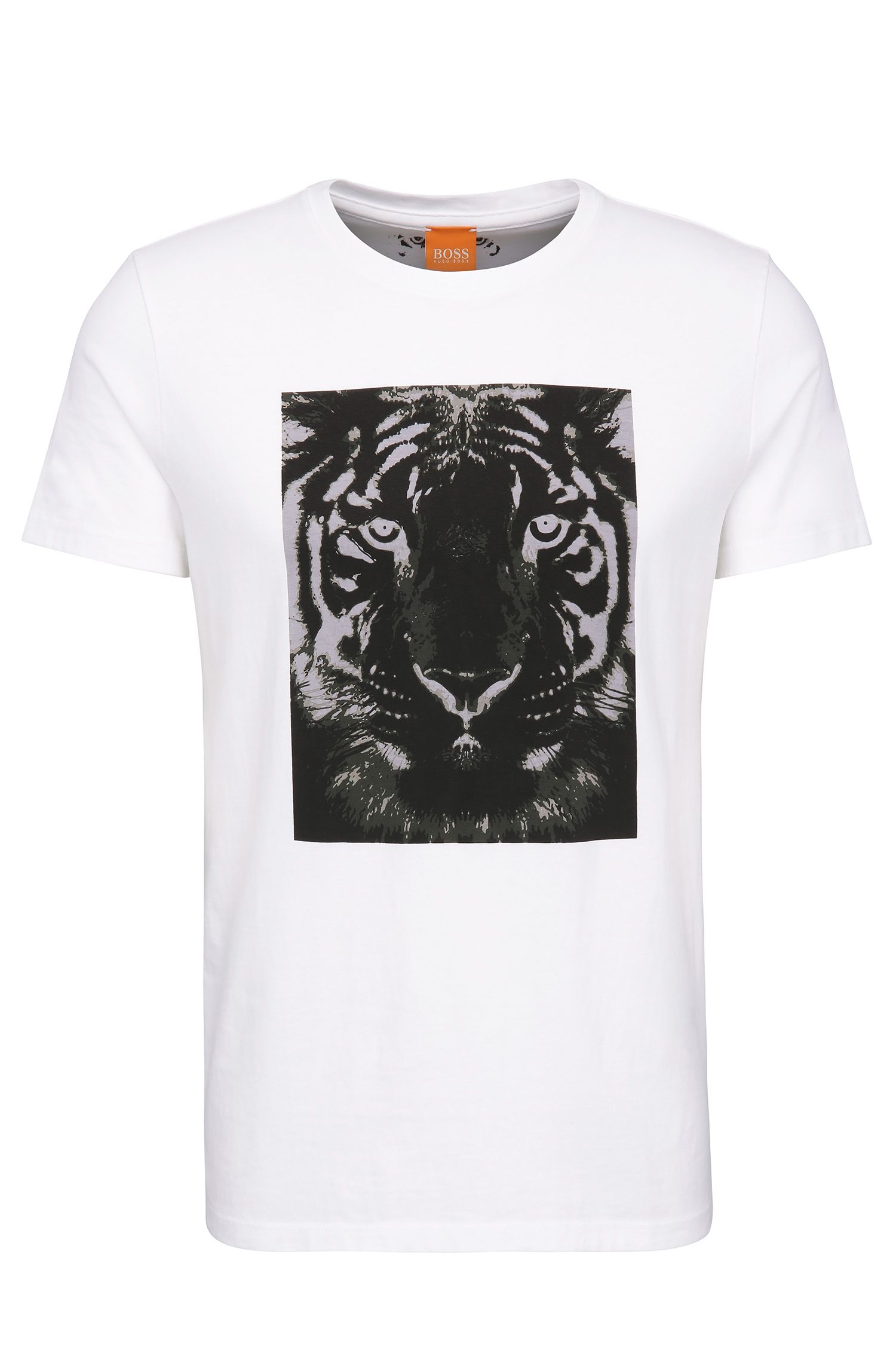 Relaxed-fit shirt in cotton with tiger print: 'Tullian 2'