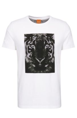 Relaxed-fit shirt in cotton with tiger print: 'Tullian 2', White