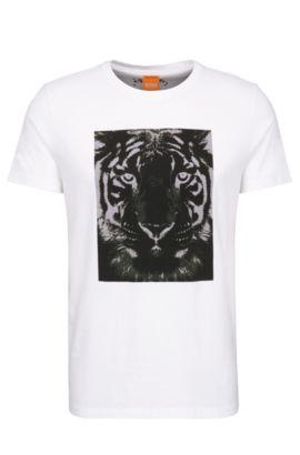 T-shirt Relaxed Fit en coton à imprimé tigre: «Tullian 2», Blanc