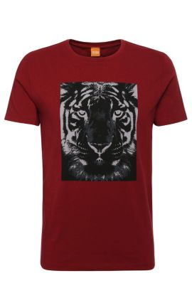 Relaxed-Fit Shirt aus Baumwolle mit Tiger-Print: ´Tullian 2`, Rot