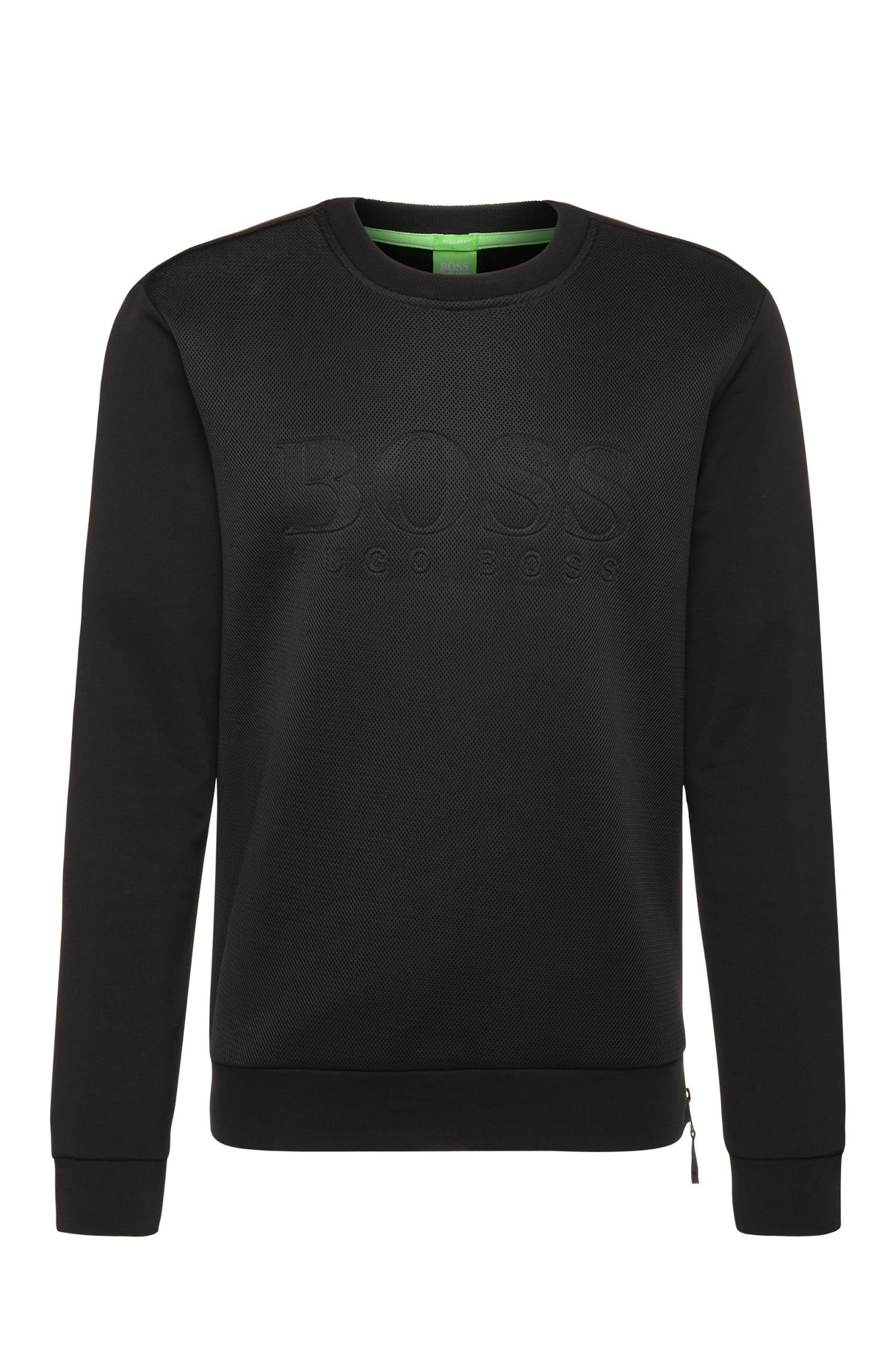 Sweat Regular Fit en coton à empiècement en maille filet : « Salbon »