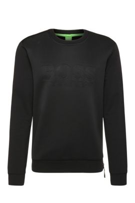 Regular-fit sweater in cotton with mesh trim: 'Salbon', Black