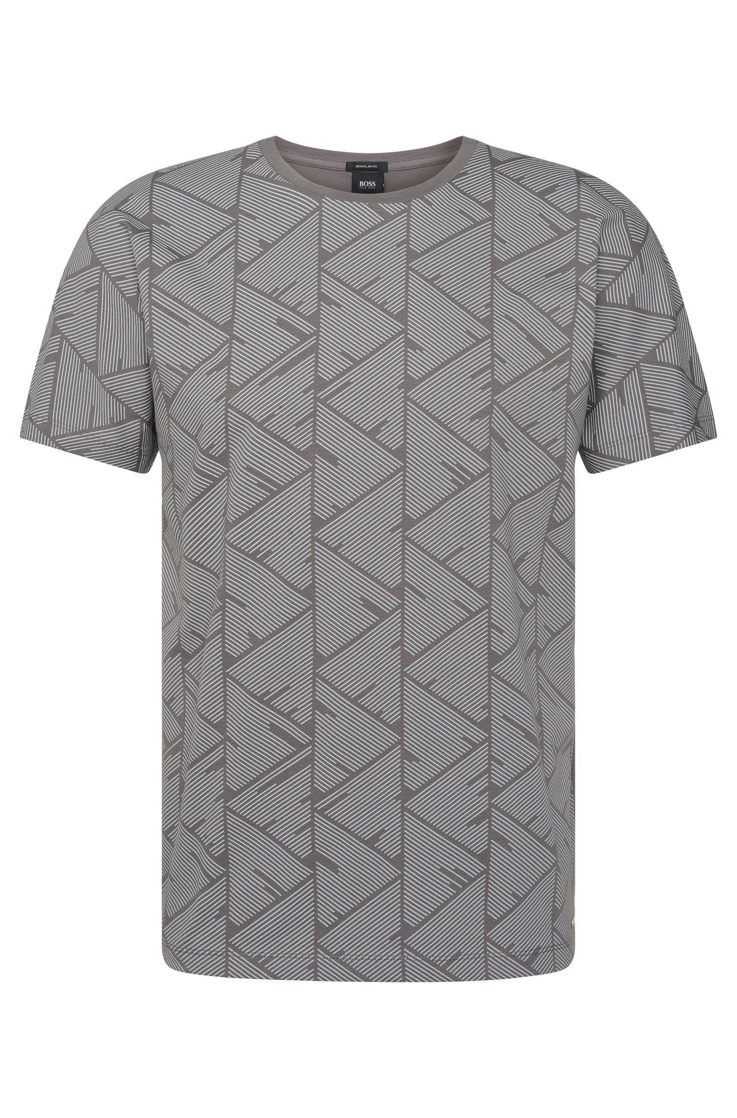 Regular-fit T-shirt van katoen met bedrukte voorkant: 'Tiburt 19'