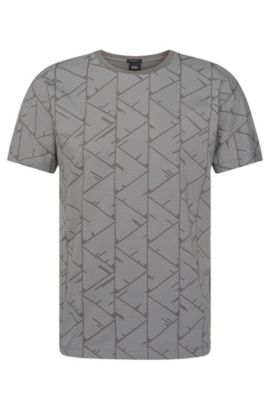 Regular-fit T-shirt van katoen met bedrukte voorkant: 'Tiburt 19', Lichtgrijs