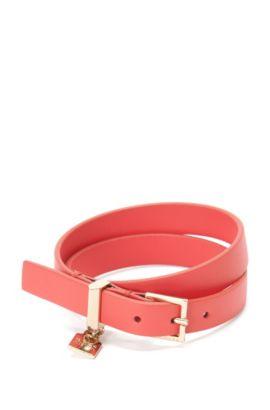 Leather bracelet with small pendant: 'Berlin Bracelet-A', Pink