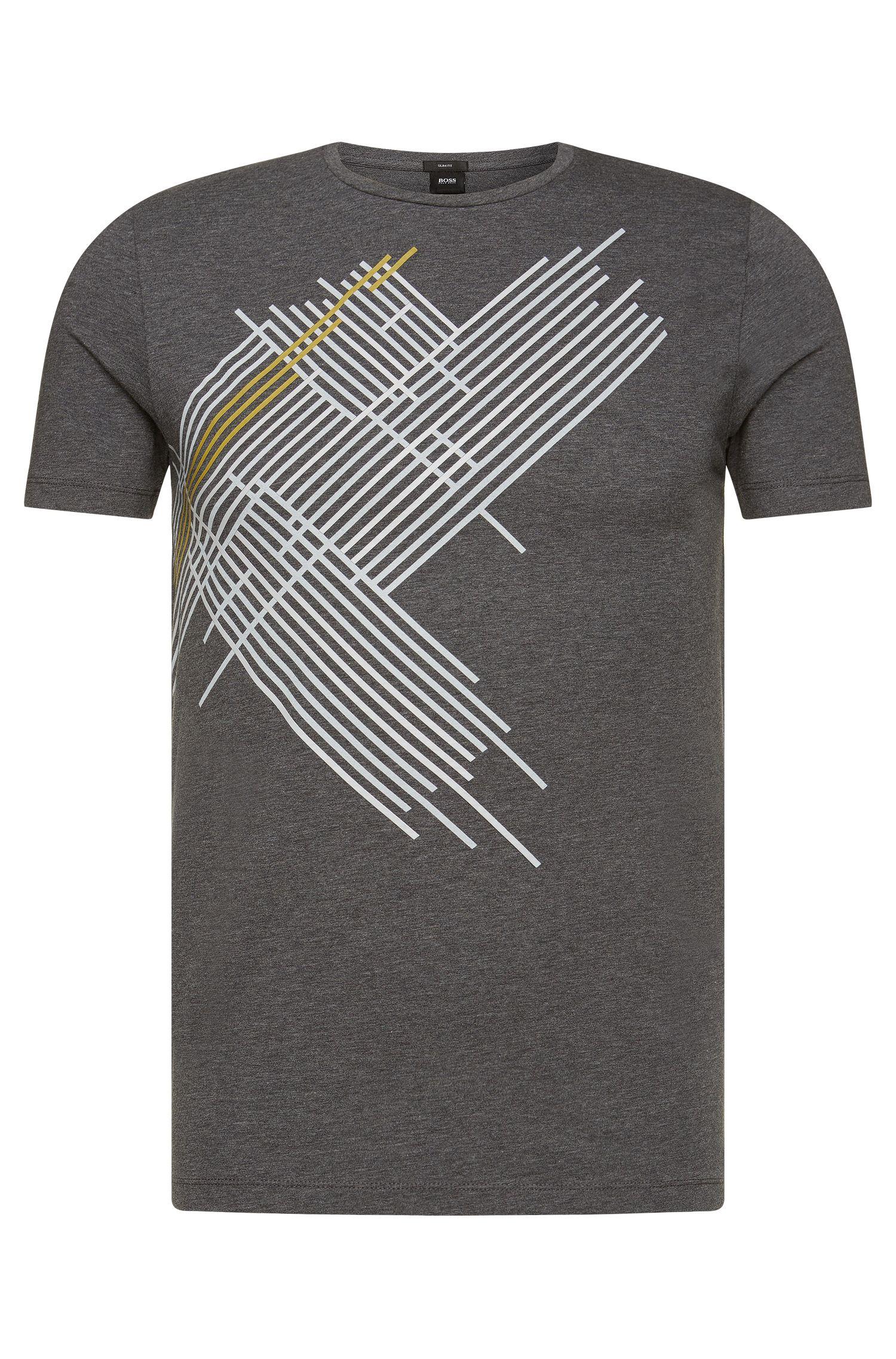 Slim-fit T-shirt van katoen met print: 'Tessler 38'