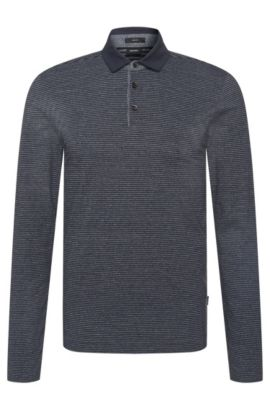 Striped slim-fit long-sleeved polo shirt in cotton blend: 'Prall 08', Dark Blue
