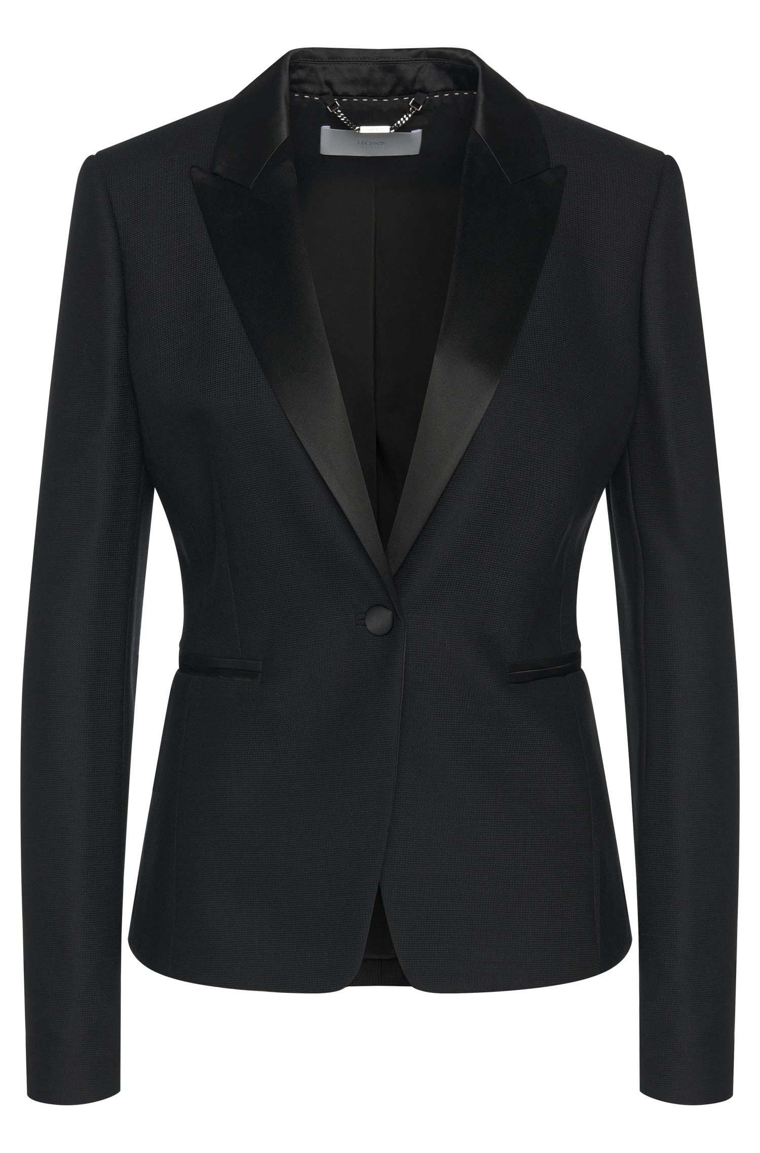 Blazer in new wool with silk details: 'Jakinana'