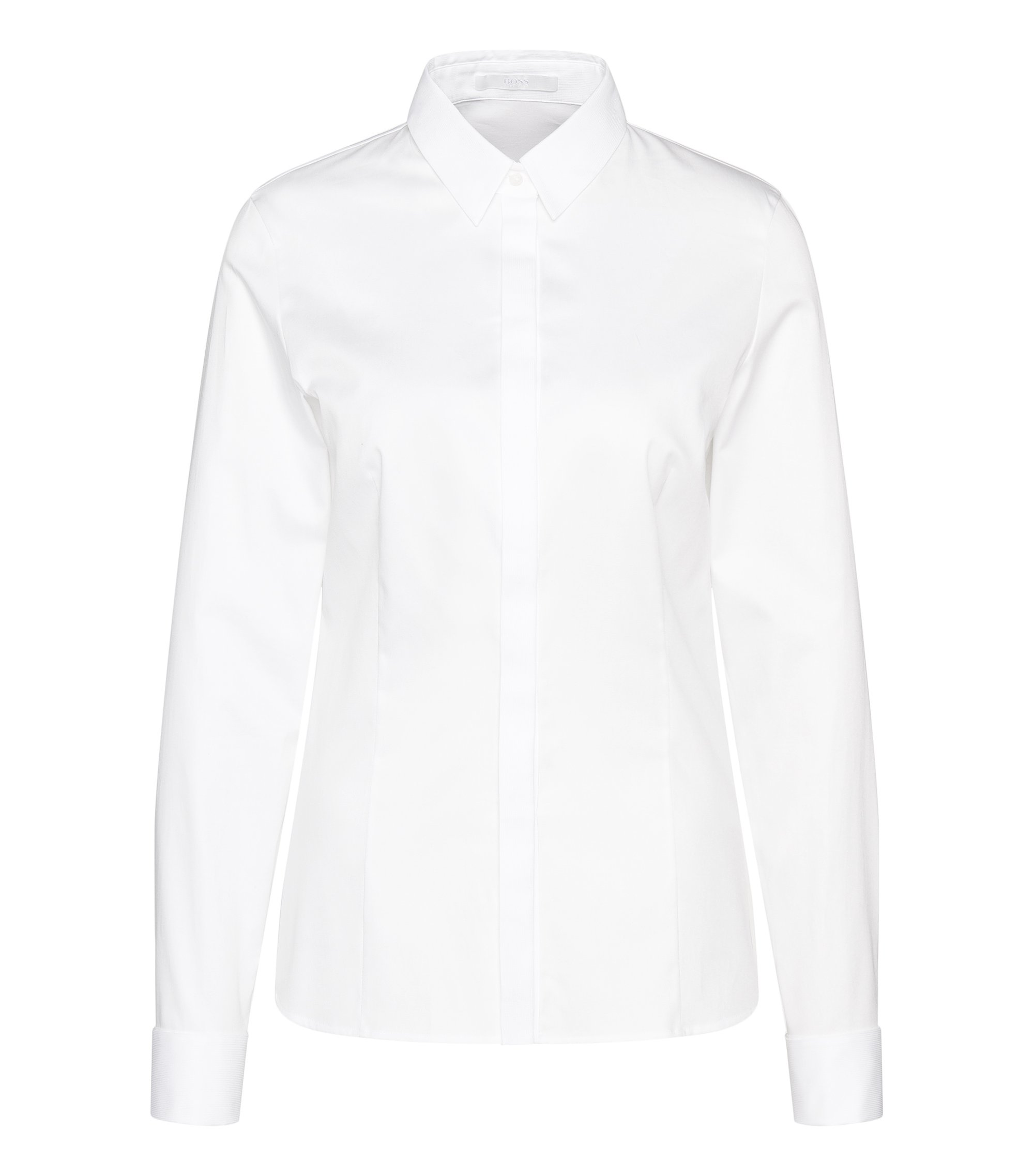 Regular-fit stretch-cotton shirt with panels, White