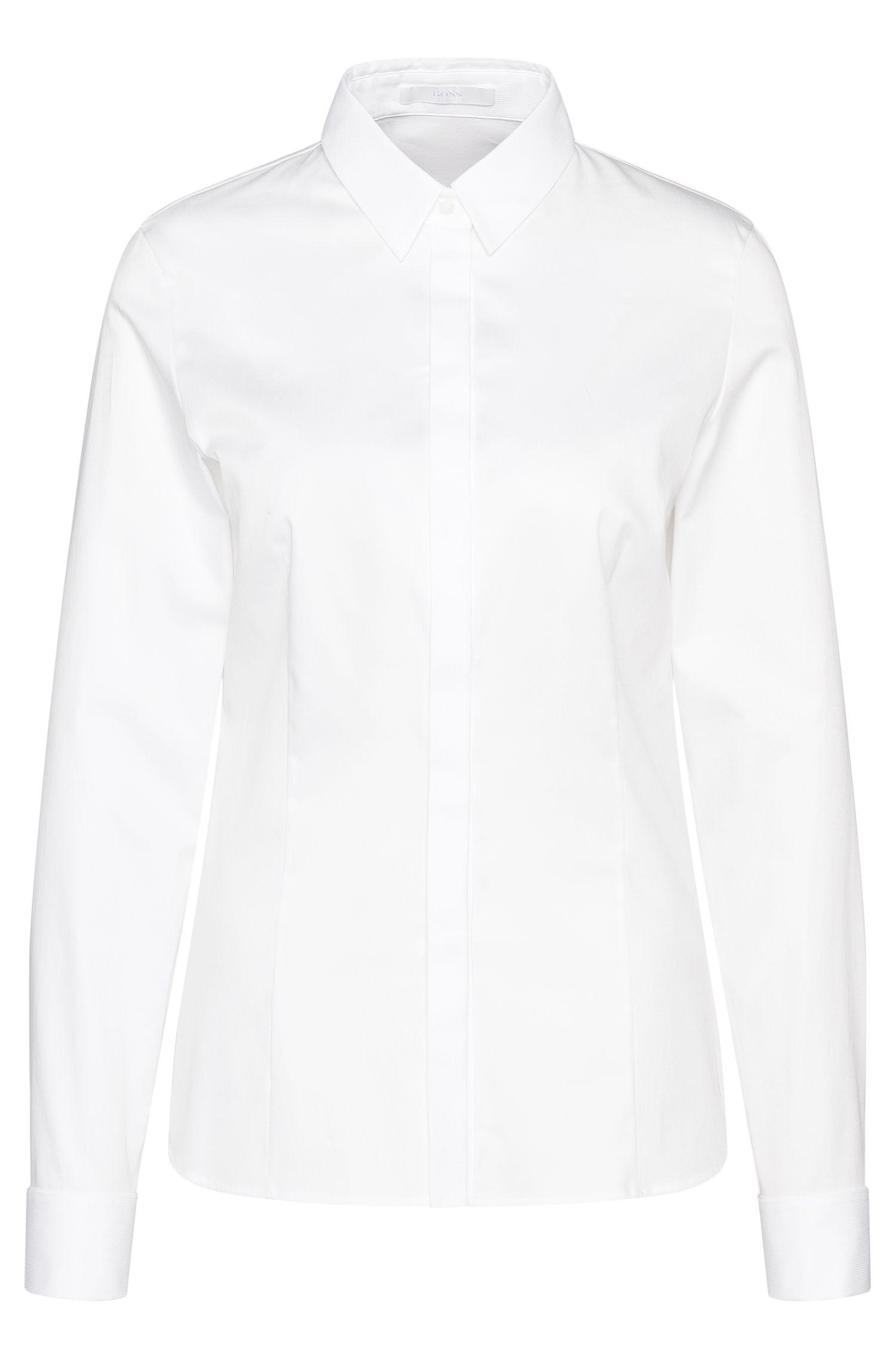 Regular-fit overhemd van stretchkatoen met panelen