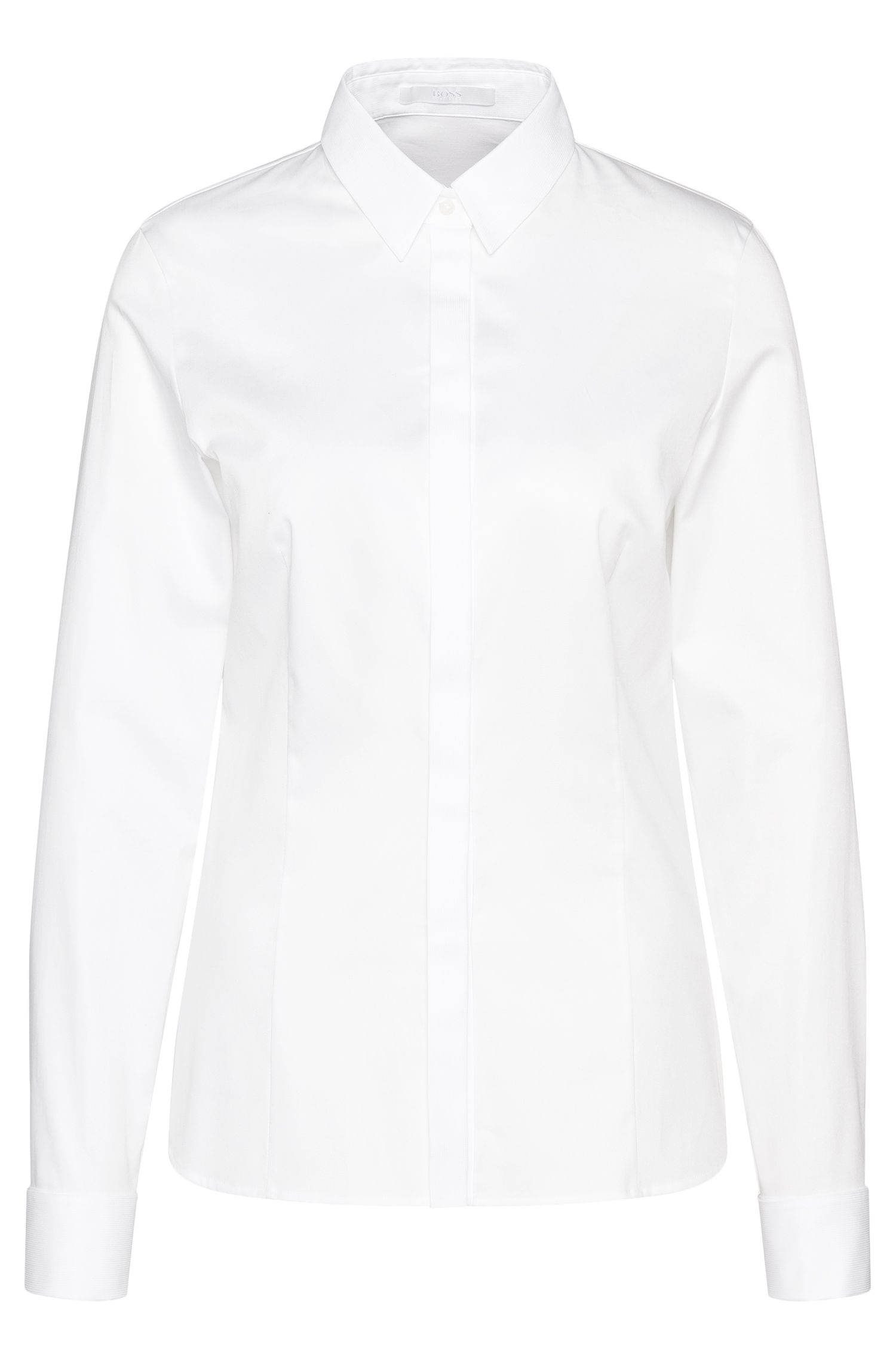 Shirt-style blouse in stretch cotton with turn-back cuffs: 'Bitara'