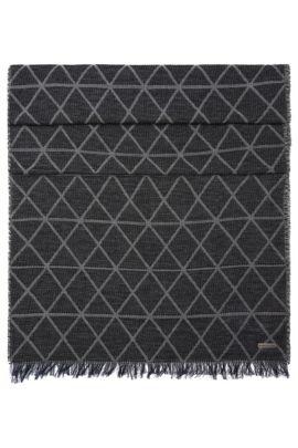 Gemusterter Schal aus Baumwolle: ´Nathan`, Hellgrau