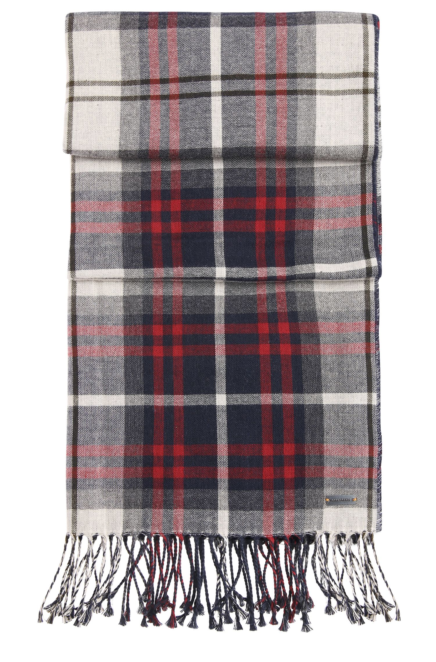 Scarf in cotton with tartan pattern: 'Nils'