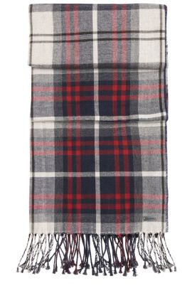 Scarf in cotton with tartan pattern: 'Nils', Natural