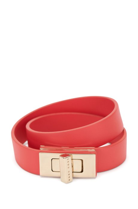 BOSS Bespoke wrap-around bracelet in leather, Pink
