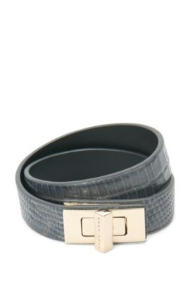 BOSS Bespoke Armband aus Leder mit Reptilien-Print, Anthrazit