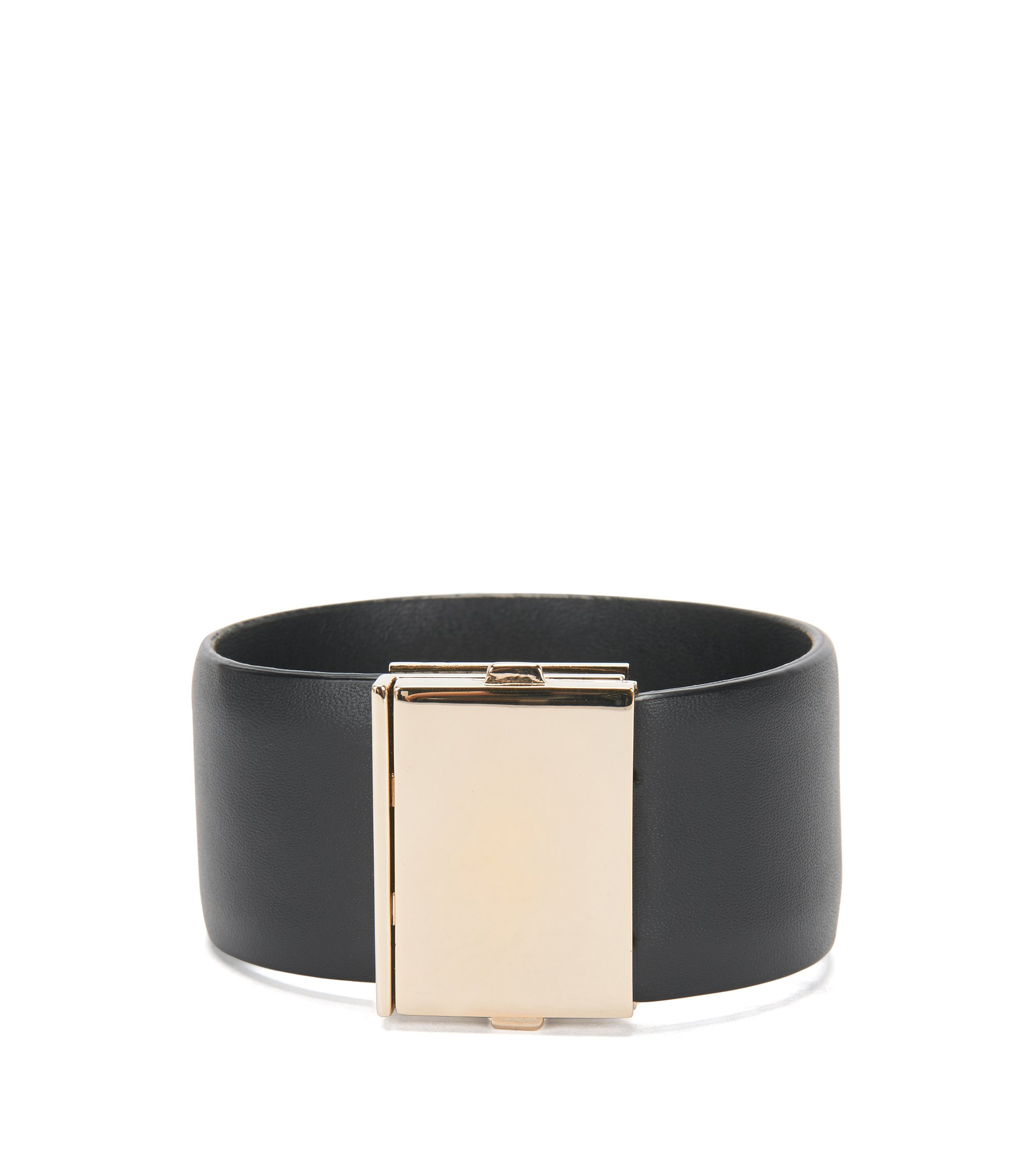 Leather bracelet with distinctive clasp: 'Romi Brace L-A', Black