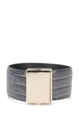 Bracelet in embossed leather: 'Romi Bracelet-LA', Anthracite