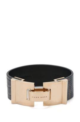 Leather bracelet with lizard print: 'Grace Bracelet-LA', Anthracite