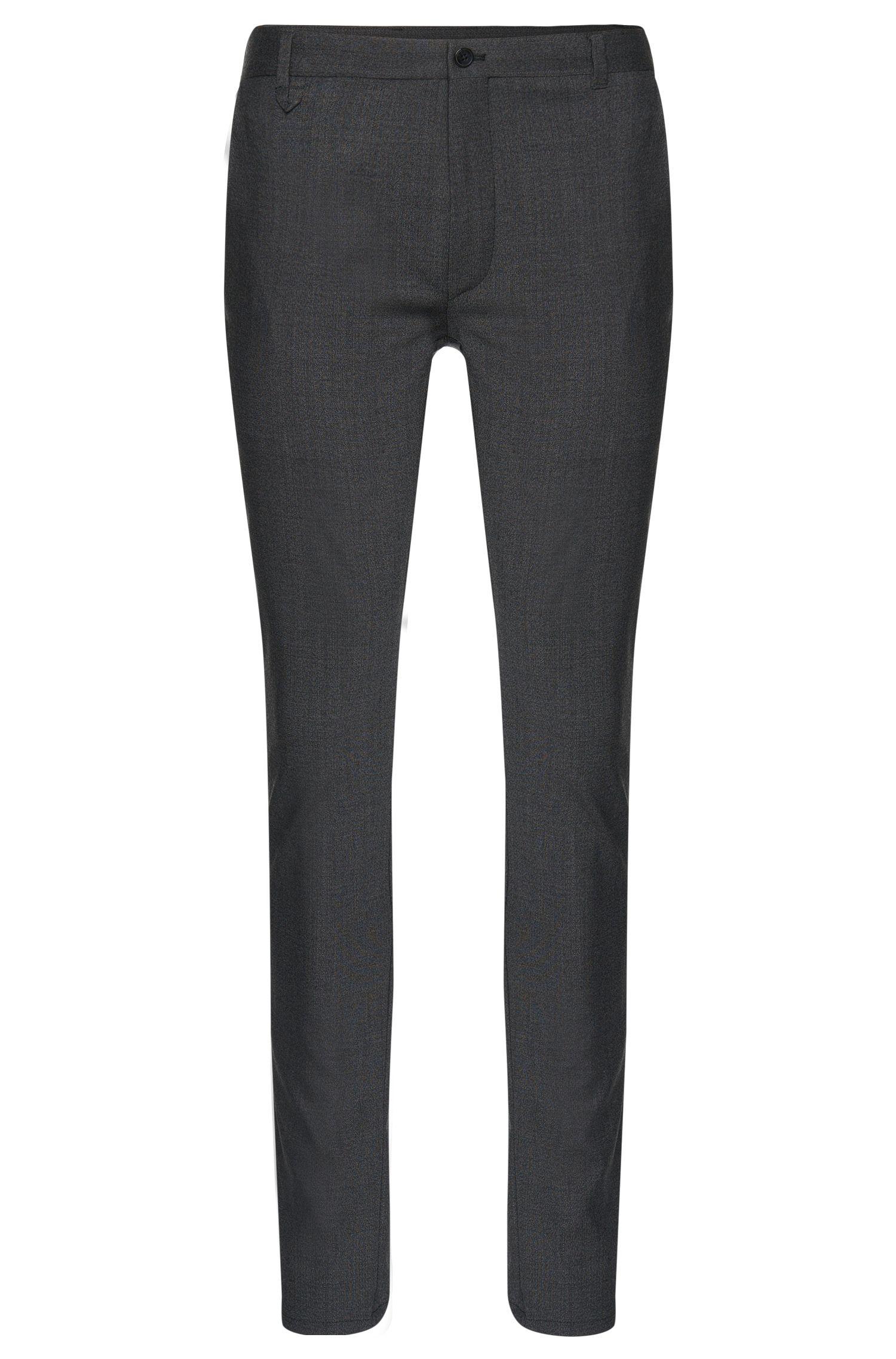 Extra slim-fit broek met dessin van HUGO, van scheerwol met stretch: 'Heldor1'
