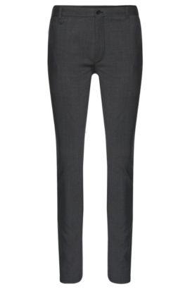 Extra slim-fit broek met dessin van HUGO, van scheerwol met stretch: 'Heldor1', Donkergrijs