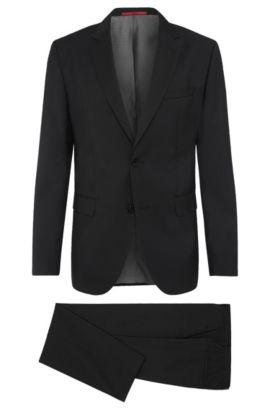 Melierter Regular-Fit Anzug aus Schurwolle: 'C-Jeys1/C-Shaft1', Schwarz