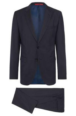 Traje jaspeado regular fit en lana virgen: 'C-Jeys1/C-Shaft1', Azul oscuro