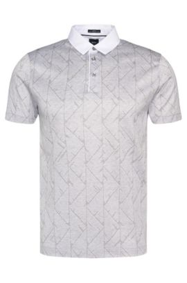 Slim-Fit Tailored Poloshirt aus Baumwolle mit Allover-Print: 'T-Pryde 25', Grau