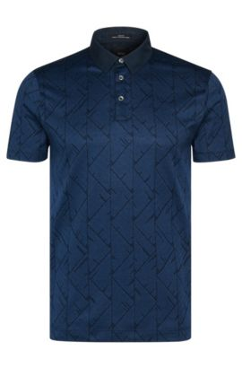 Slim-fit poloshirt uit de Tailored-collectie, van katoen met all-over print: 'T-Pryde 25', Turkoois