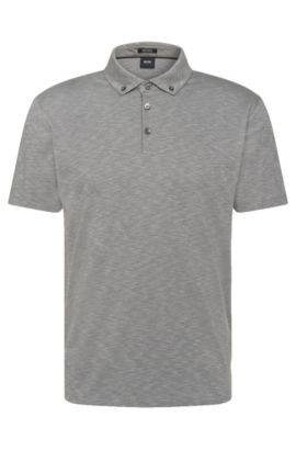 Mottled regular-fit polo shirt in pima cotton: 'Pirsson 01', Open Grey