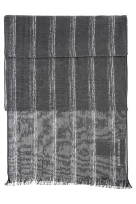Striped scarf in cotton blend: 'Nabril', Black