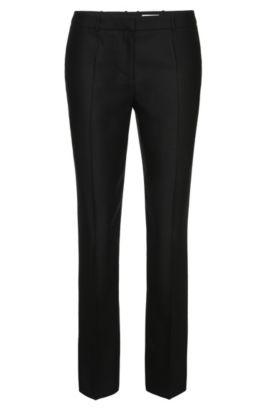Pantalón slim fit en pura lana virgen: 'Tiluna1', Negro