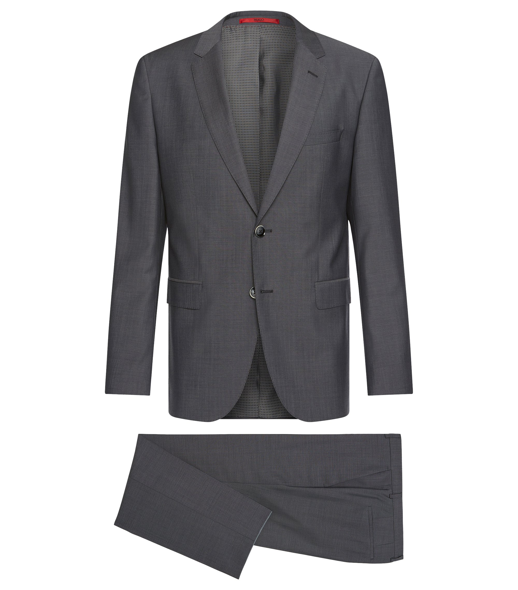 Mottled regular-fit suit in new wool: 'C-Jeys1/C-Shaft1', Dark Grey