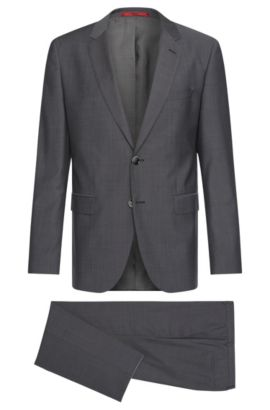 Mottled regular-fit suit in new wool: 'C-Jeys1/C-Shaft1', Dark Grey