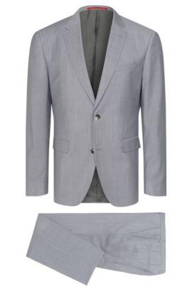 Gemêleerd regular-fit kostuum van scheerwol: 'C-Jeys1/C-Shaft1', Lichtgrijs